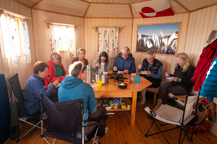 Dinner at the beautiful hut near Tiniteqilaaq - East Greenland