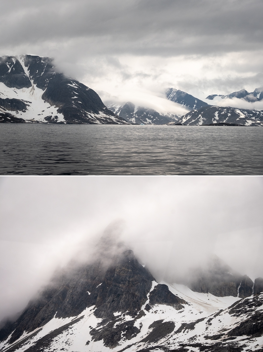 Obscured views of mountains in the Ammassalik and Ikasartivaq Fjords - East Greenland