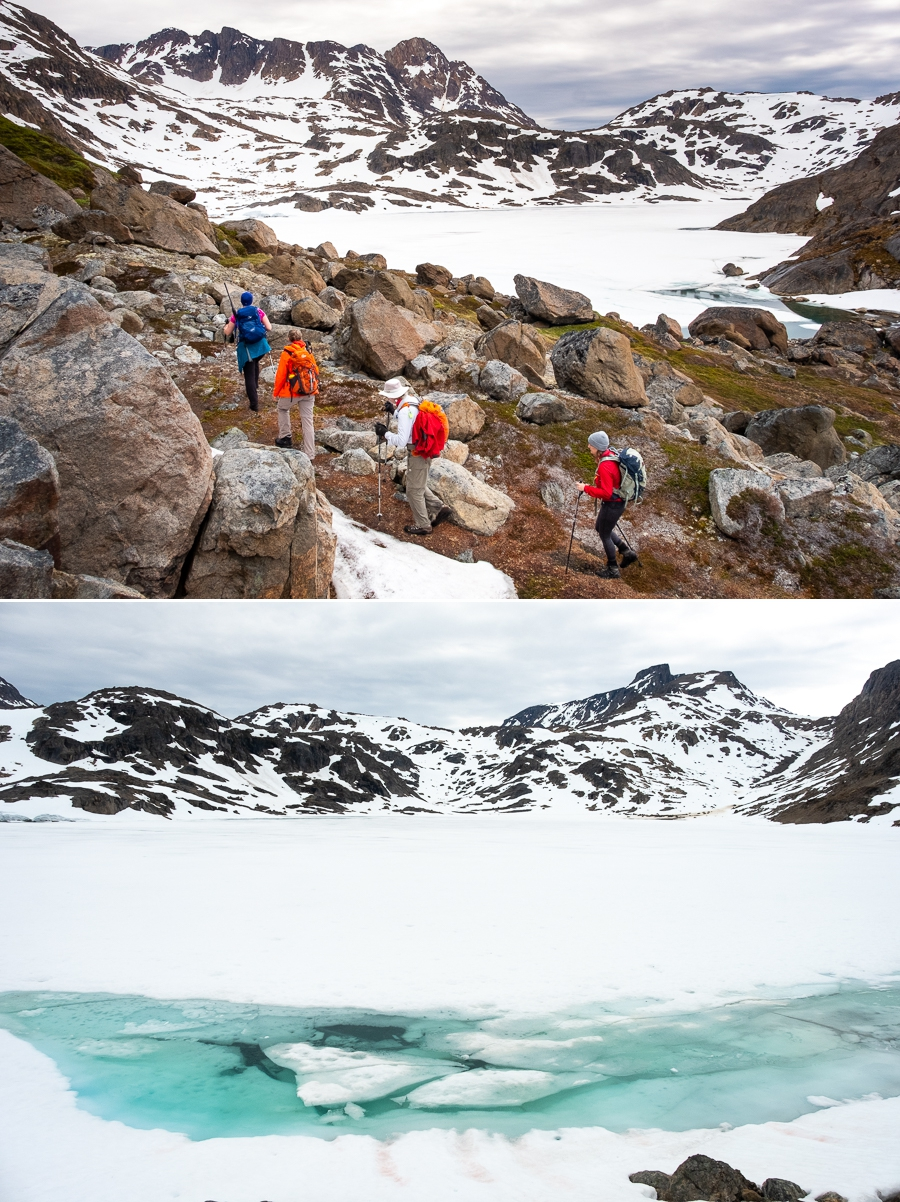 Hiking around a large semi-frozen lake along the Sermilik Way - Ammassalik Island - East Greenland