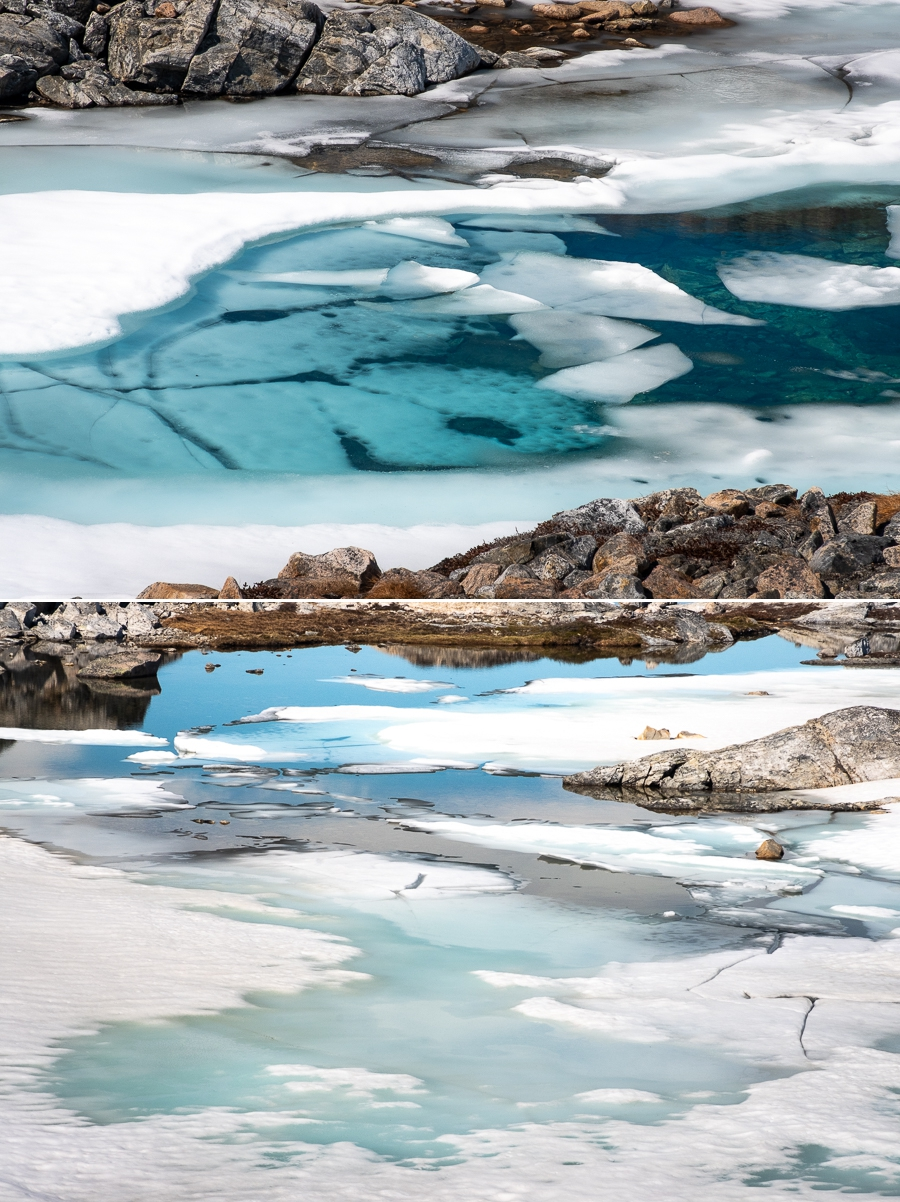 semi-frozen lakes on our day hike out of Tiniteqilaaq - East Greenland