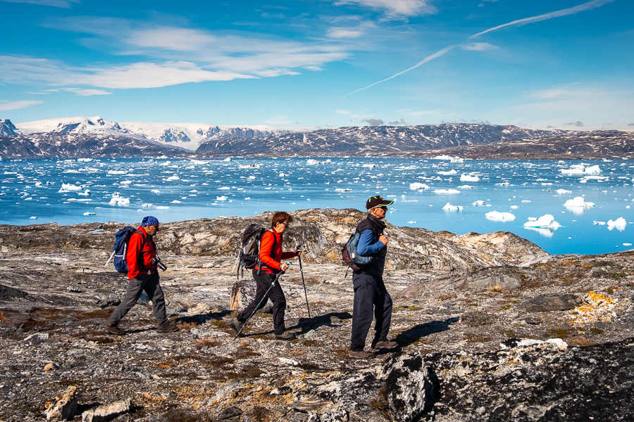 Hiking along the Sermilik Fjord near Tiniteqilaaq - East Greenland