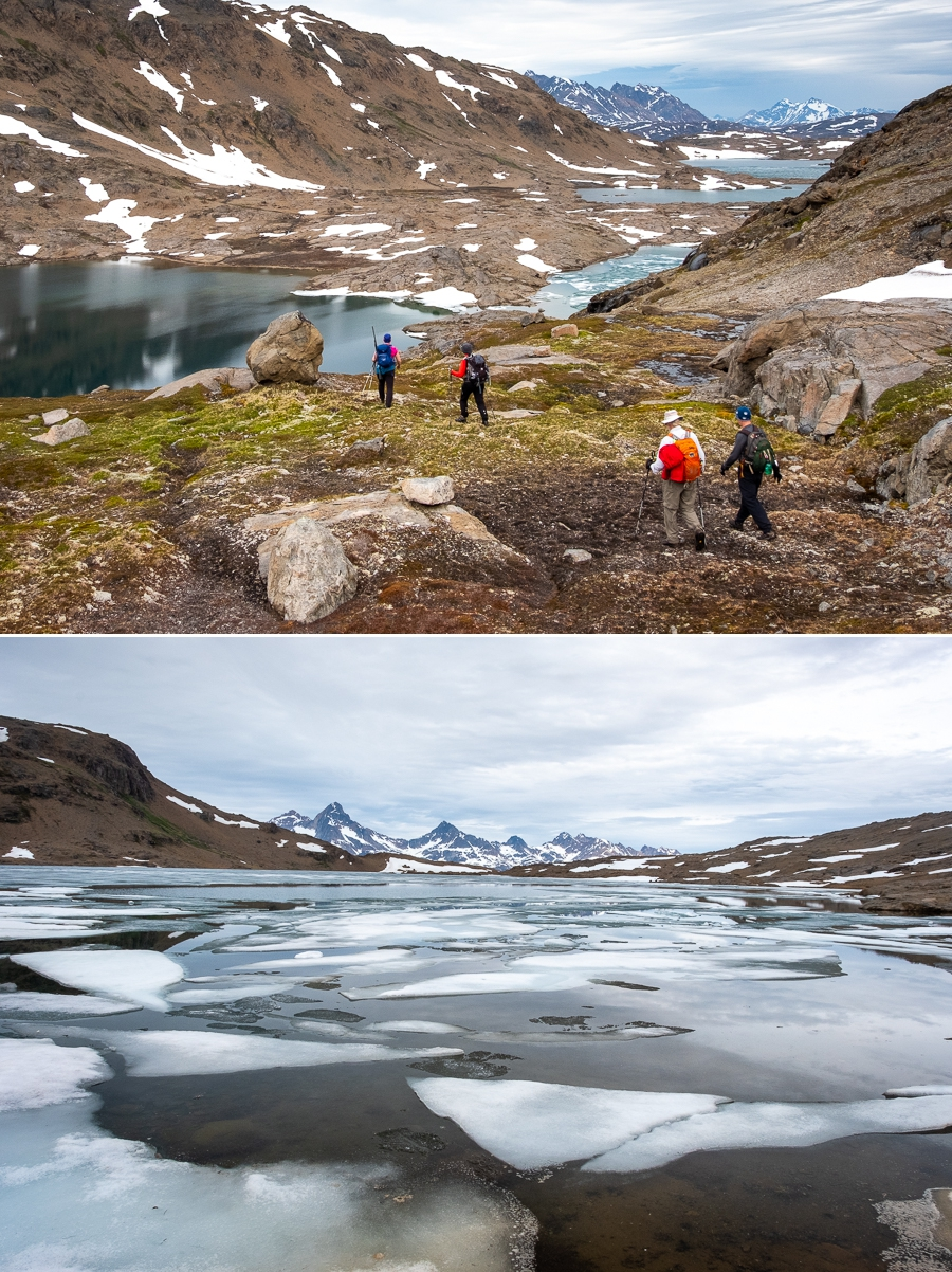 Hiking alongside lakes on the Sermilik Way - Ammassalik Island- East Greenland