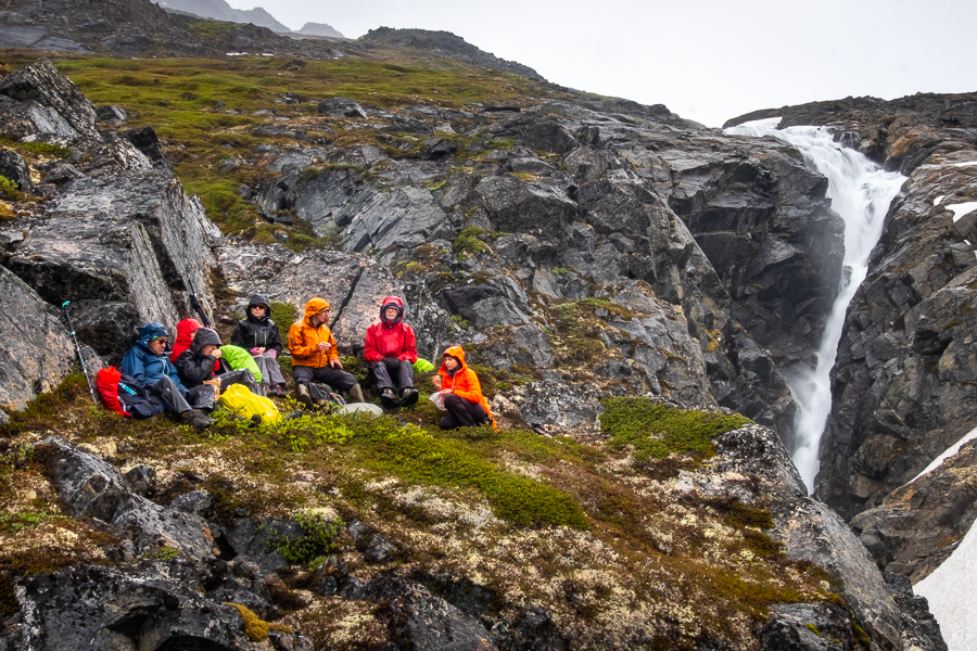 lunch at the unnamed waterfall near Kuummiut, East Greenland