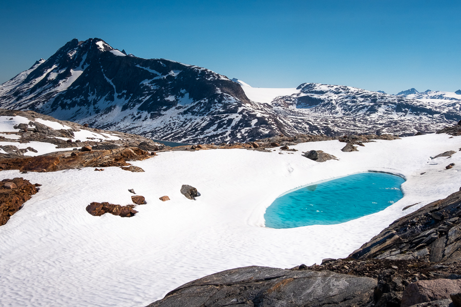 Perfect snow pool on our day hike from Tiniteqilaaq - East Greenland