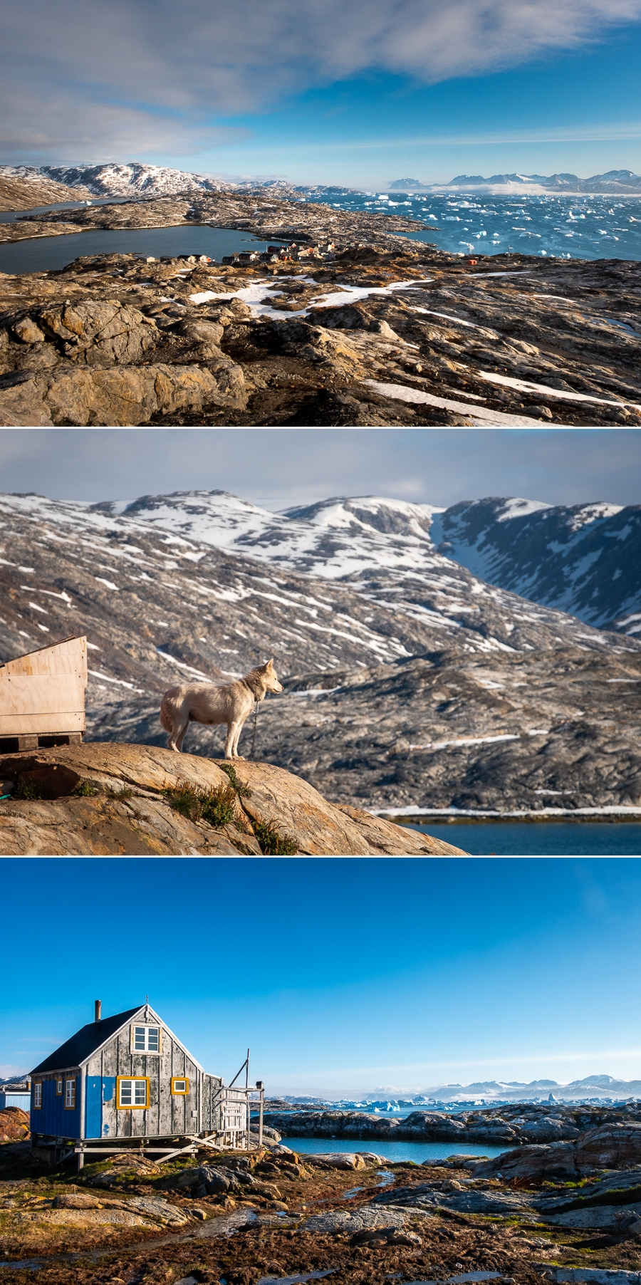 Various views of Tiniteqilaaq in East Greenland