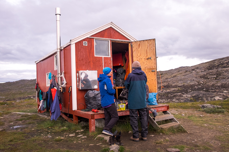Cooking dinner outside the Ikkattooq Hut - Arctic Circle Trail - West Greenland