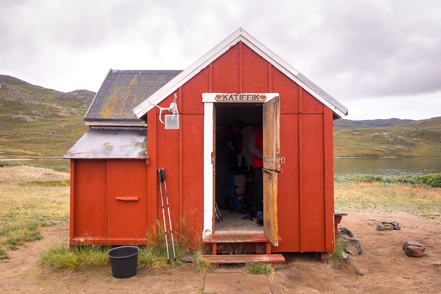 Katiffik - the first official hut of the Arctic Circle trail - is very cute but very small.  West Greenland.