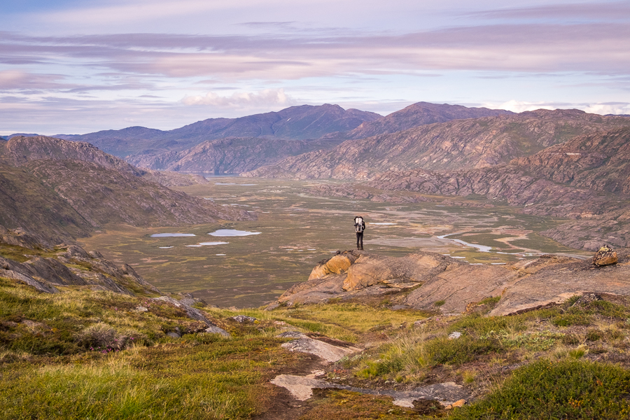 Tyson overlooking Ole's Lakseelv (Itinneq) Valley from the ridge - Arctic Circle Trail - West Greenland