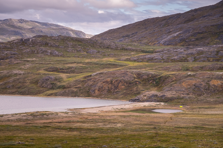 Campsite by the beach in the arctic wilderness - Arctic Circle Trail - West Greenland