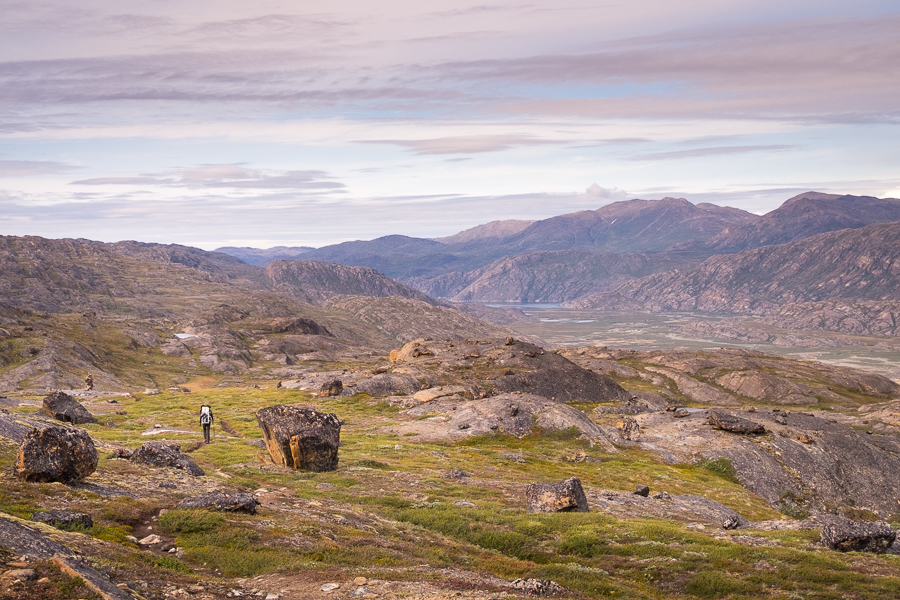 Hiking through a boulder field on Day 4 - Arctic Circle Trail - West Greenland