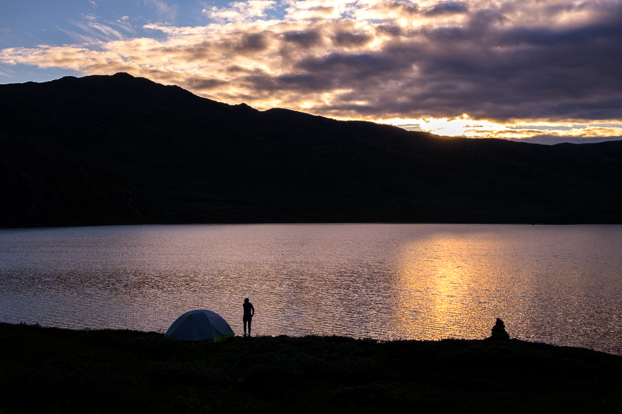 Sunset over the camp of the Kiwi-Canadians - Arctic Circle Trail - West Greenland