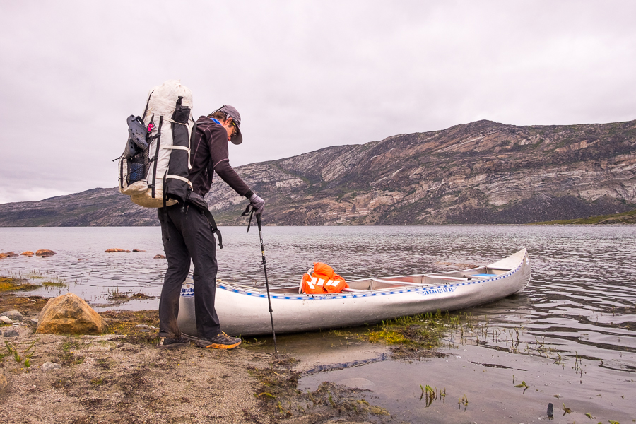 Tyson checking out the canoe we found half way down Amitsorsuaq Lake - Arctic Circle Trail - West Greenland