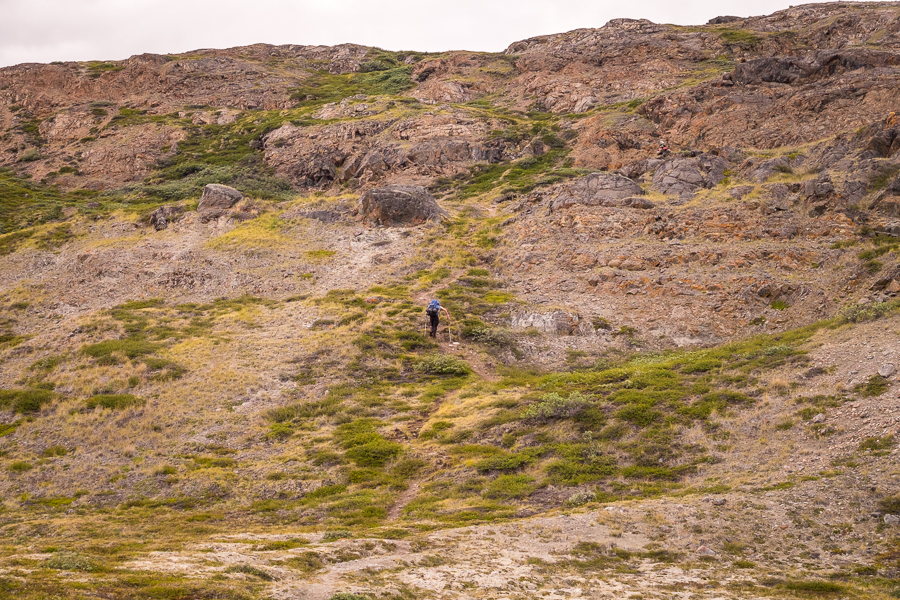 Rob ascending the trail to a ridge - Arctic Circle Trail - West Greenland