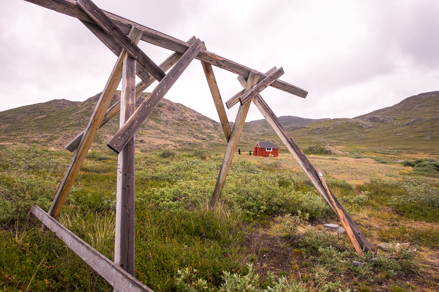 Old canoe rack with katiffik hut in the background - Arctic Circle Trail - West Greenland