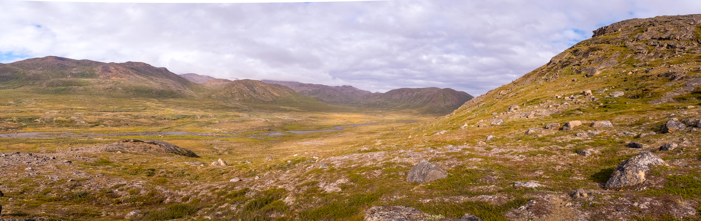 Panorama of alternate valley near Kangerlusarsuk Tulleq Nord Hut - Arctic Circle Trail - West Greenland