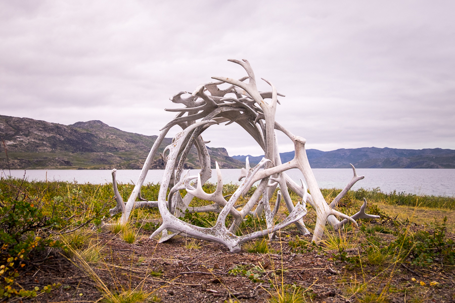 Sculpture made of reindeer antlers along the Arctic Circle Trail, West Greenland