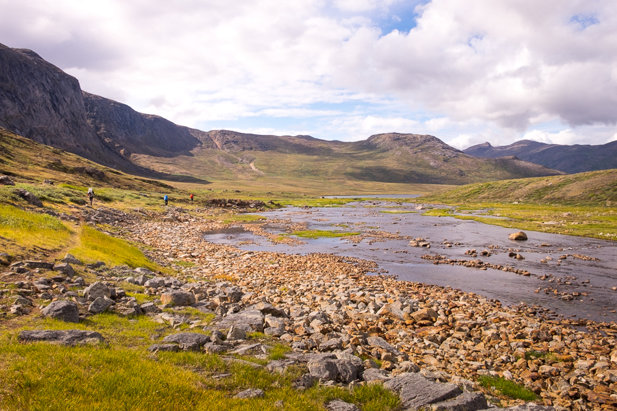 Following a rocky river  on Day 5 - Arctic Circle Trail - West Greenland
