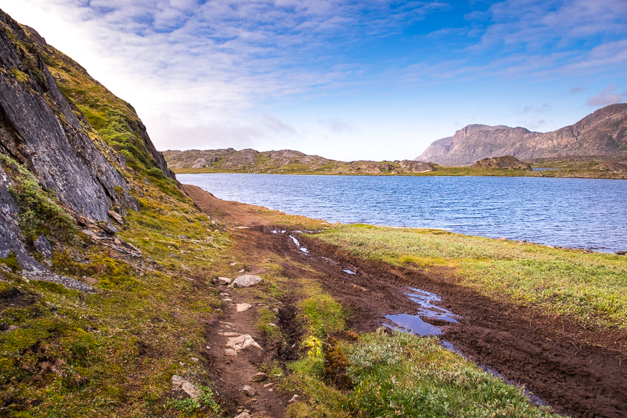 From trail to road on the outskirts of Sisimiut - Arctic Circle Trail - West Greenland