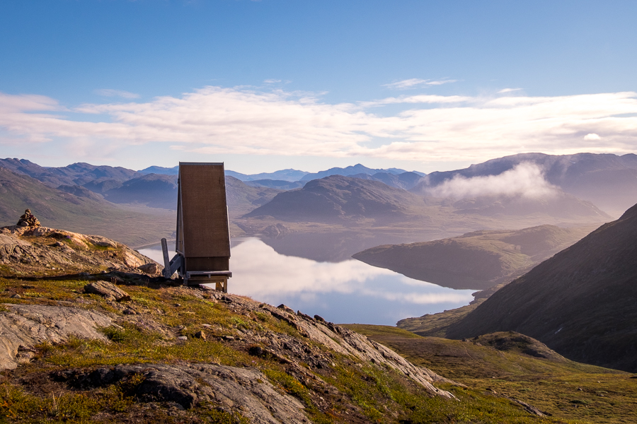 Toilet with stunning view over the lake on day 8 - Arctic Circle Trail - West Greenland