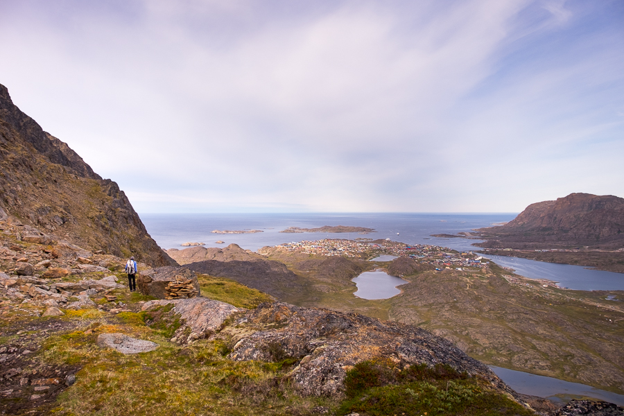 View of Sisimiut from above, hiking the flank of Nasaasaaq mountain - Sisimiut, West Greenland