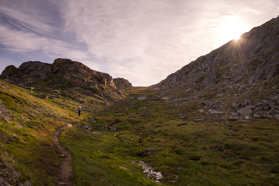 Hiking up the trail along the gully at the start of the Nasaasaaq mountain hike - Sisimiut, West Greenland