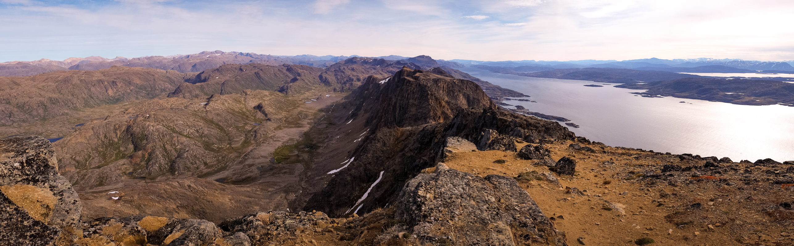 Panorama of ridge view at summit of  Nasaasaaq mountain - Sisimiut, West Greenland