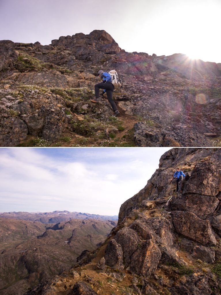 Scrambling up boulders on the way to the summit of Nasaasaaq mountain - Sisimiut, West Greenland