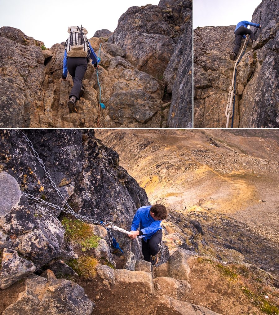 rope assists on the way to the summit of Nasaasaaq mountain - Sisimiut, West Greenland