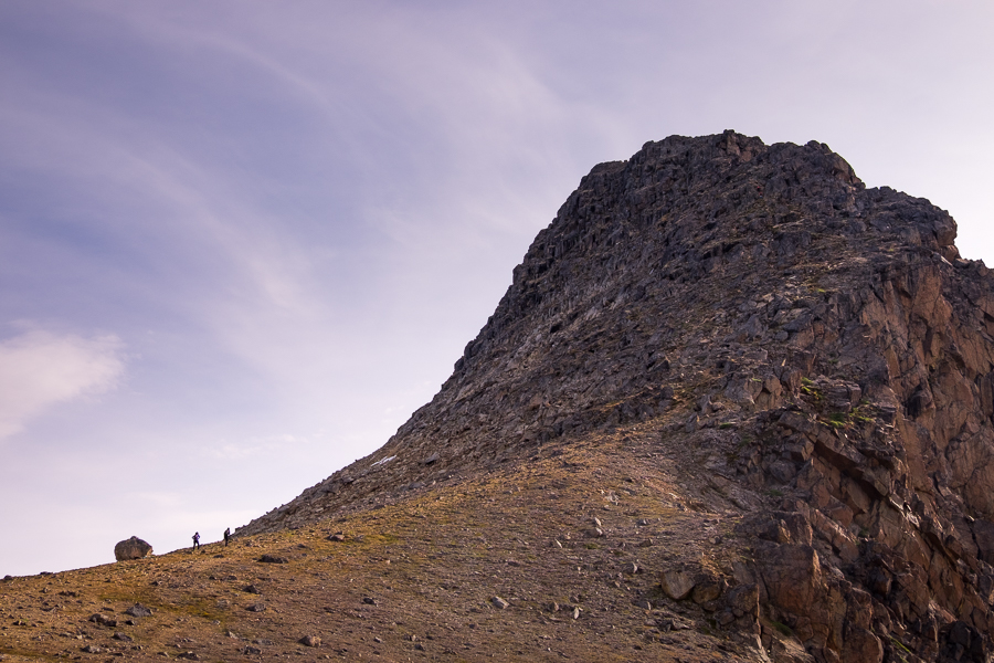 Side-view of the steep ascent to the summit of Nasaasaaq mountain - Sisimiut, West Greenland