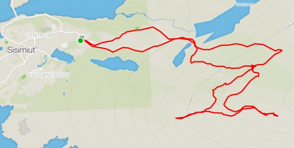 Basic Map of the route we took up Nasaasaaq Mountain near Sisimiut, West Greenland - from Strava