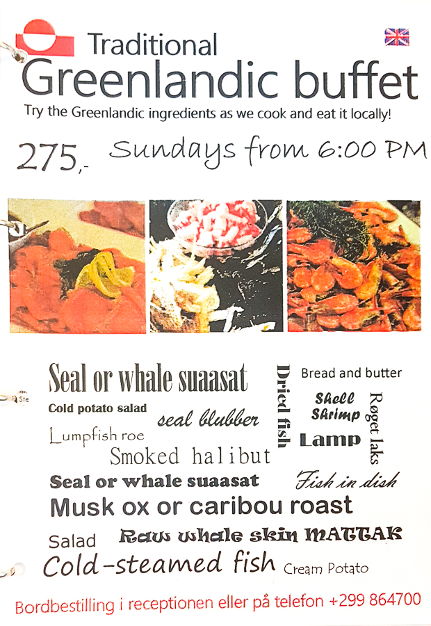 Flyer for the Traditional Greenlandic Buffet at the Hotel Sisimiut - West Greenland