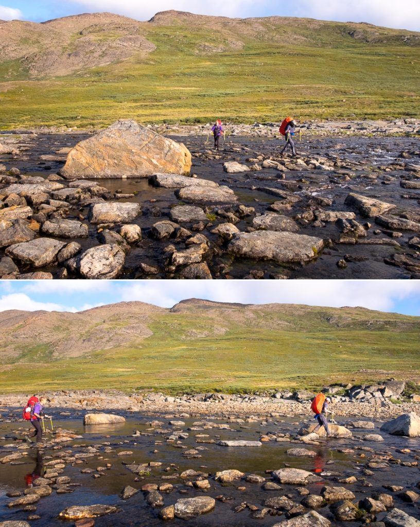 Hikers crossing the river near Innajuattoq II Hut - Arctic Circle Trail - West Greenland