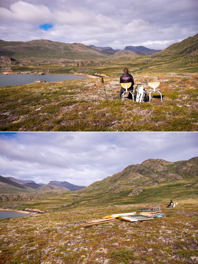 Taking in the view beside a yet to be constructed house near the Kangerlusarsuk Tulleq Nord Hut - Arctic Circle Trail - West Greenland