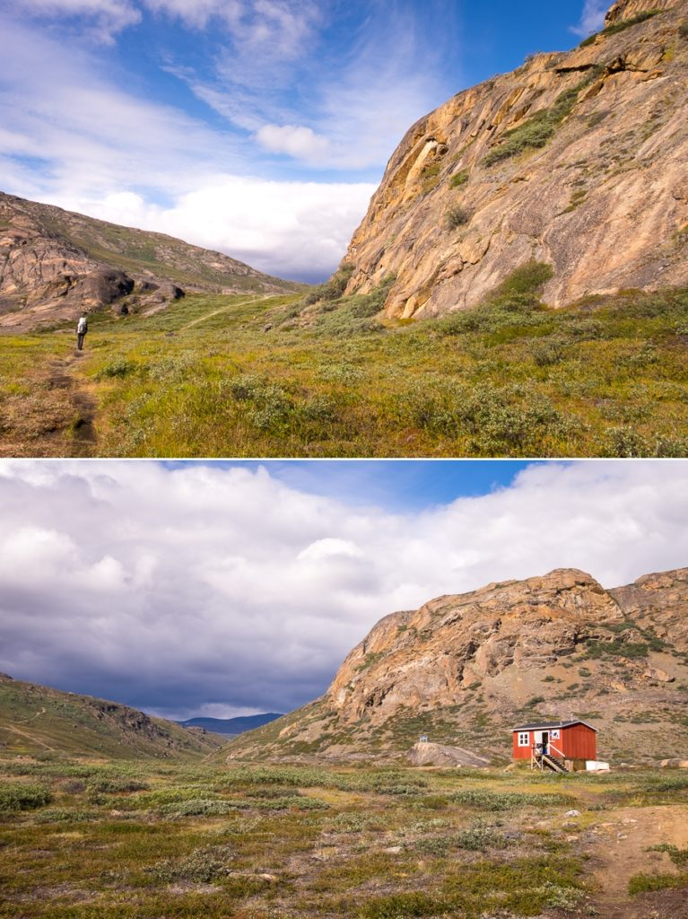 The small pass (top) to the Eqalugaarniarfik Hut (bottom) - Arctic Circle Trail - West Greenland