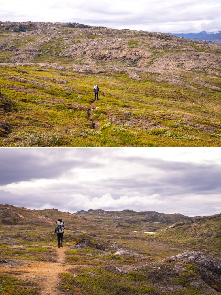 Hiking the tundra on the way to the Ikkattooq Hut - Arctic Circle Trail - West Greenland