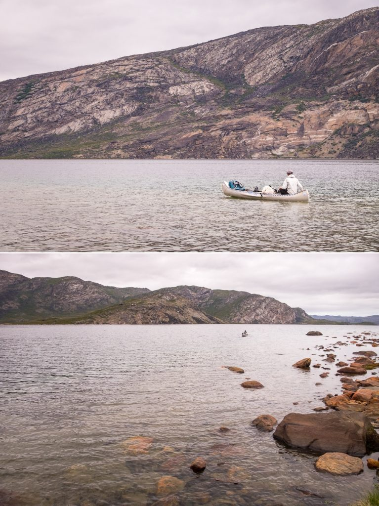 Views of Tyson paddling along the Amitsorsuaq Lake  - Arctic Circle Trail - West Greenland