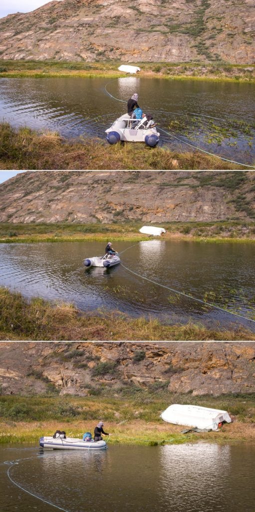 Rubber dinghy across the river - Arctic Circle Trail - West Greenland