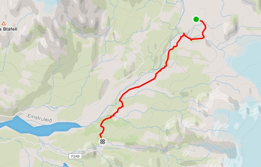 Basic Map of hike from Emstrur to Þórsmörk - Laugavegur Fimmvörðuháls Combo Trek - from Strava