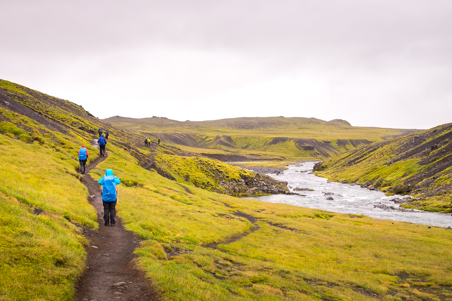 Hiking along the trail beside the river on Day 7- Laugavegur Fimmvörðuháls Trail - Icelandic Highlands