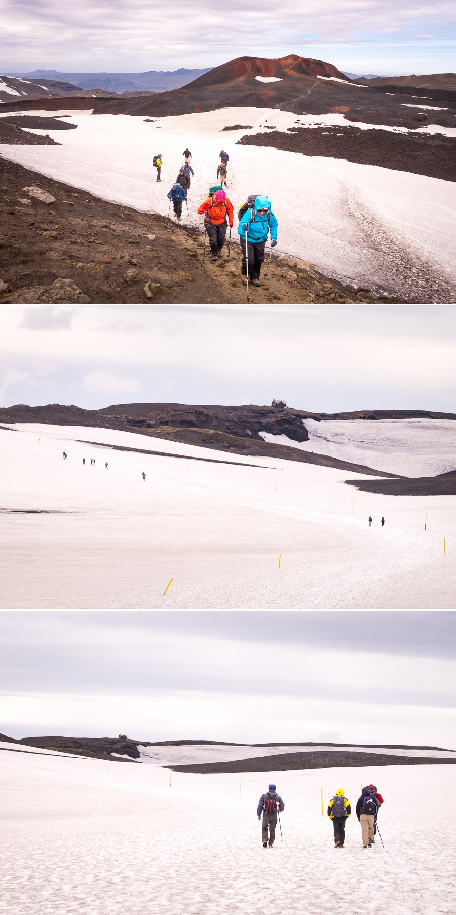 Hiking through snow on Day 6 - Laugavegur Fimmvörðuháls Trail - Icelandic Highlands
