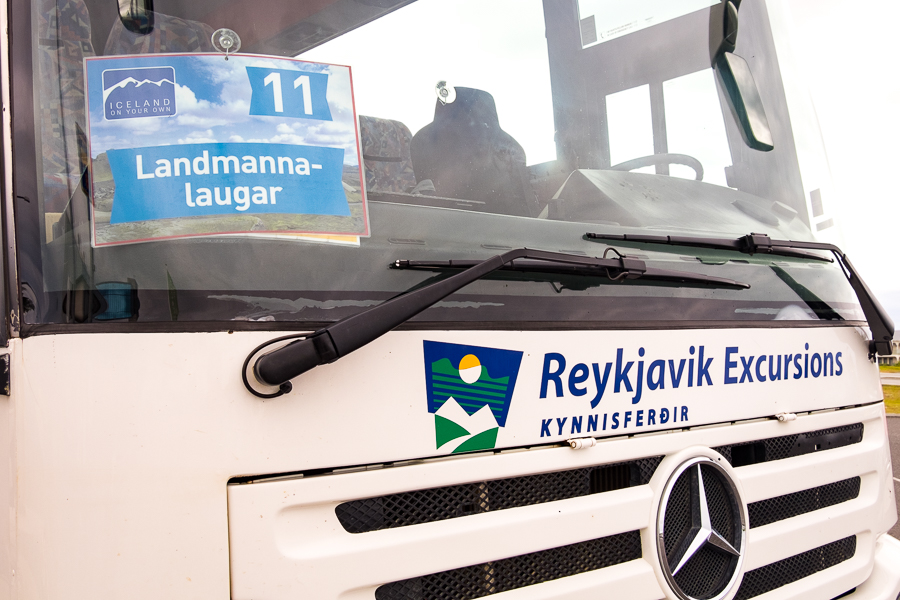 Front of the No 11 bus to Landmannalaugar - Icelandic Highlands