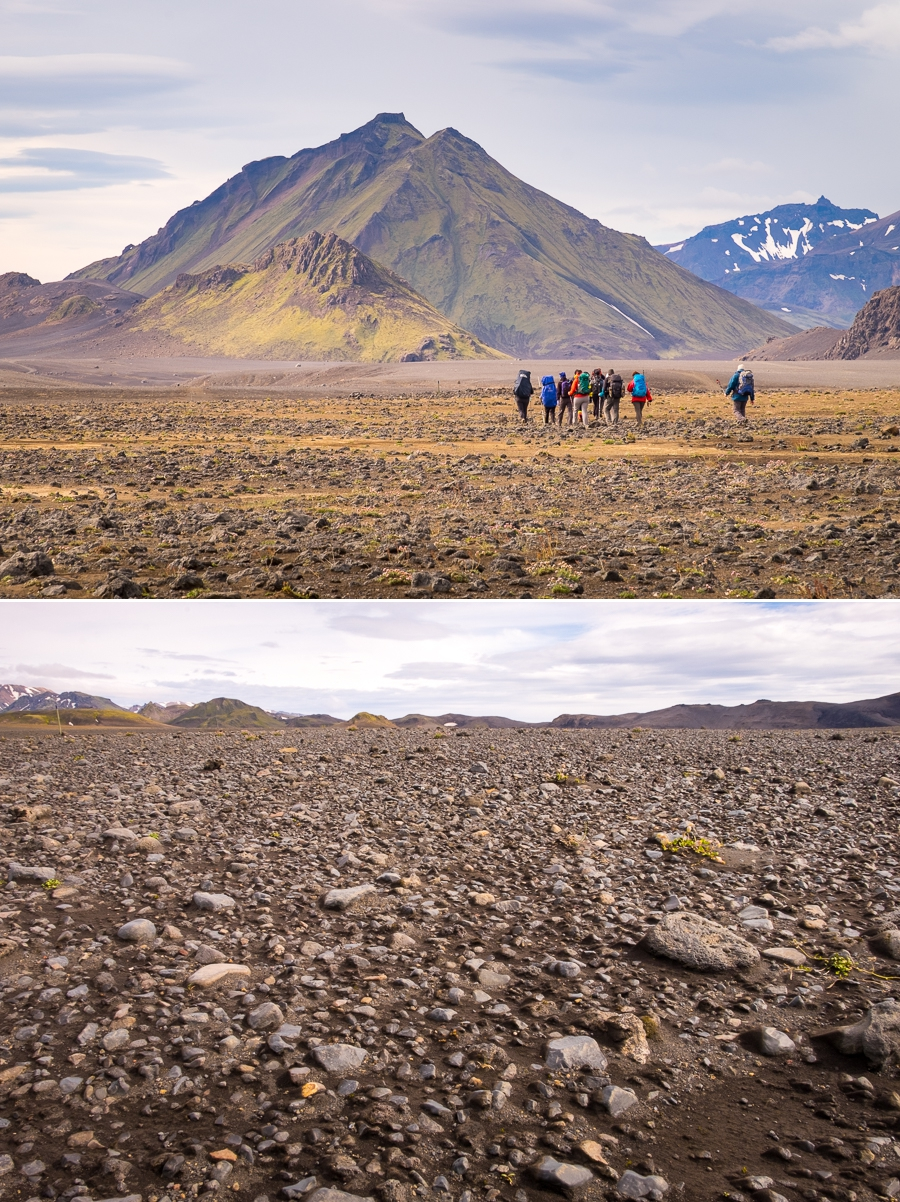 Hiking across the black volcanic Mælifellssandur desert - Laugavegur Trail - Icelandic Highlands