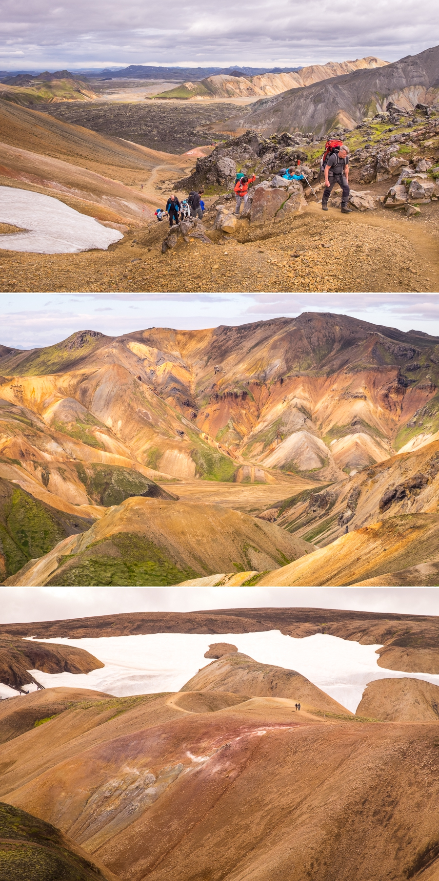 Trekking through Colorful rhyolite hills - Laugavegur Trail - Icelandic Highlands
