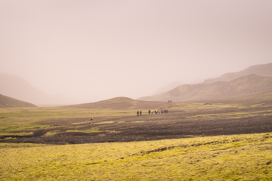 Approaching Álftavatn through the fog - Laugavegur Trail - Icelandic Highlands