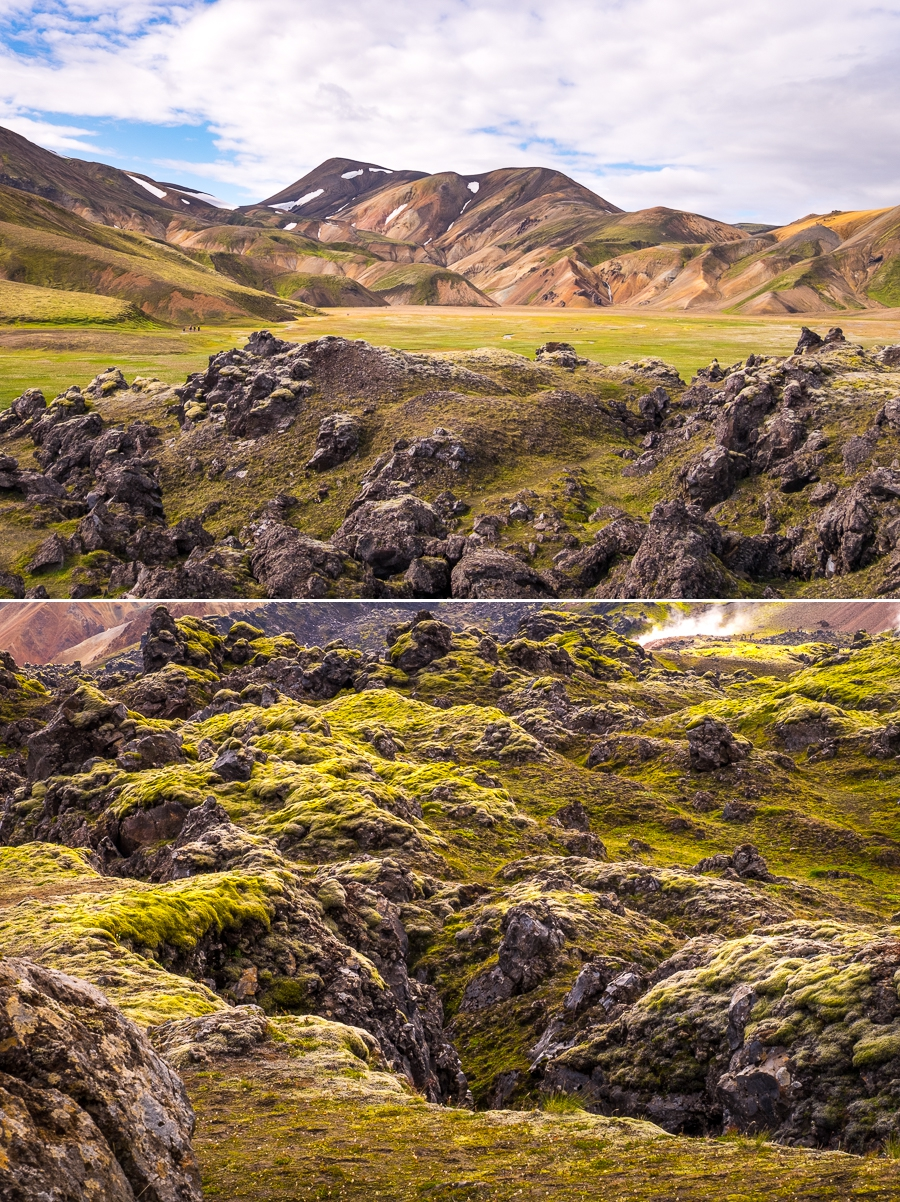 Views of the Laugahraun lava field - Laugavegur Trail - Icelandic Highlands