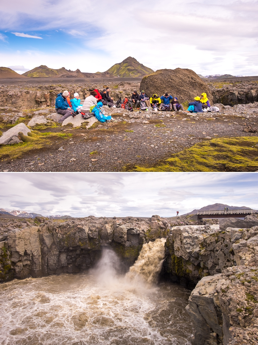 Lunch beside an impressive waterfall on Day 3 - Laugavegur Trail - Icelandic Highlands