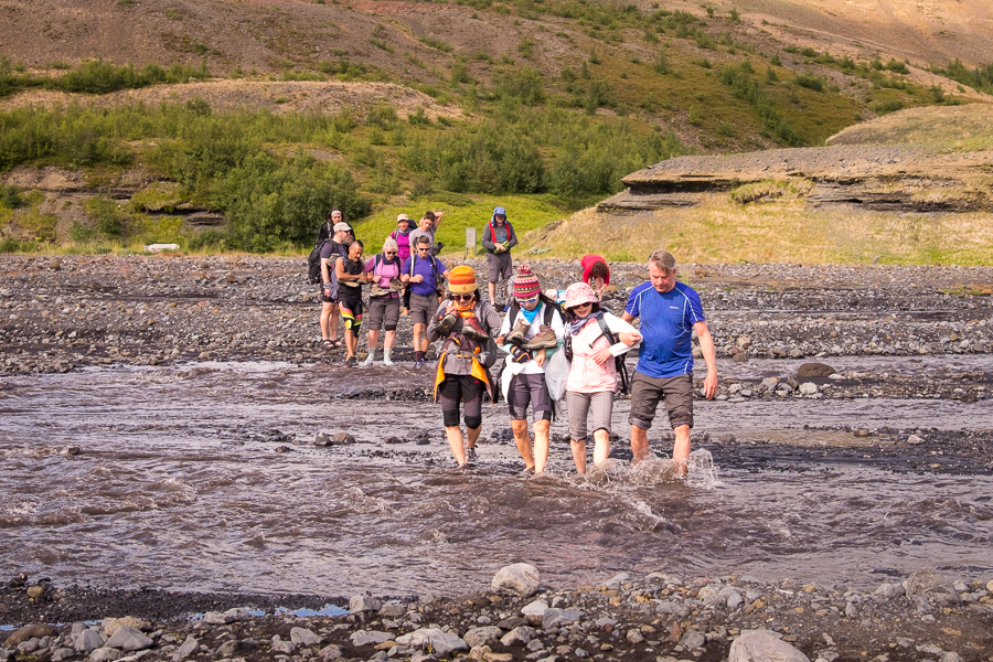 Last river crossing of the Laugavegur Trail - Icelandic Highlands