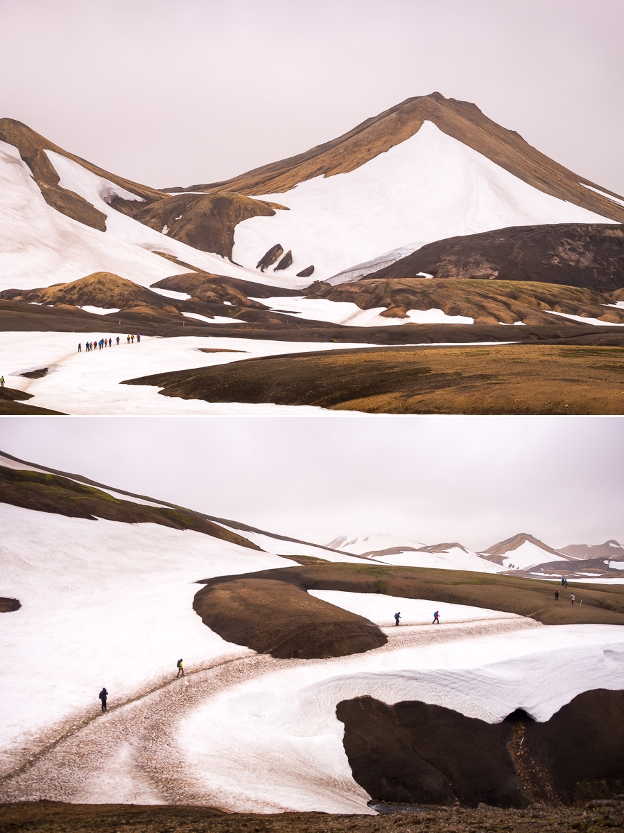 Hiking through the snow drifts - Laugavegur Trail - Icelandic Highlands