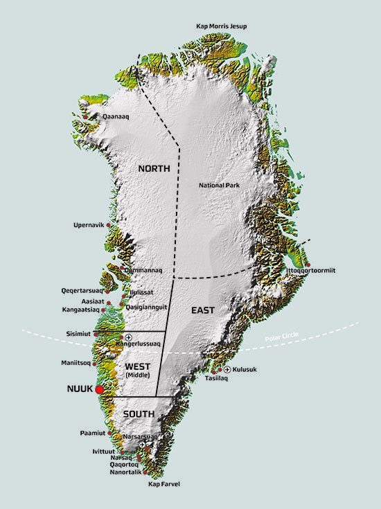 Map of Greenland showing the delineation between North, East, West and South