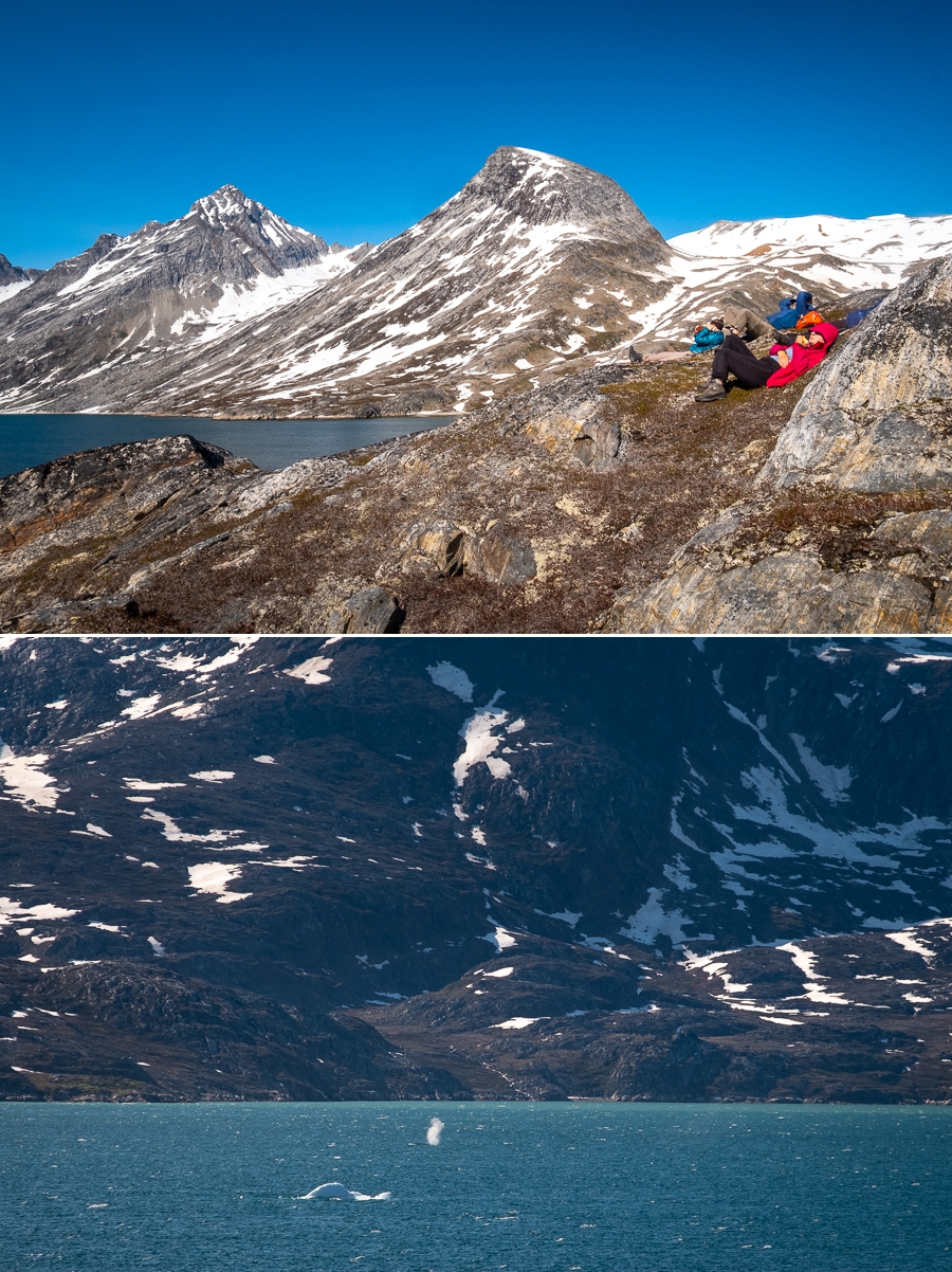 Relaxing and whale watching at the Kuummiut fjord - East Greenland